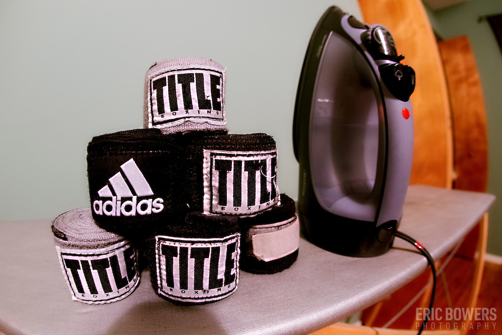 Domestic chores include the occasional ironing of one's boxing handwraps after running them through the wash.