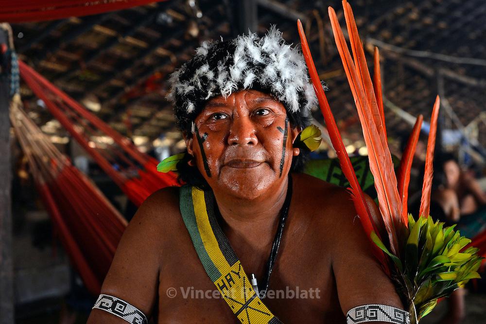 Davi Kopenawa - most famous indigenous leader of Brazil. President of Hutukara - Yanomami association - reelected in 2012. In his village of Watoriki.