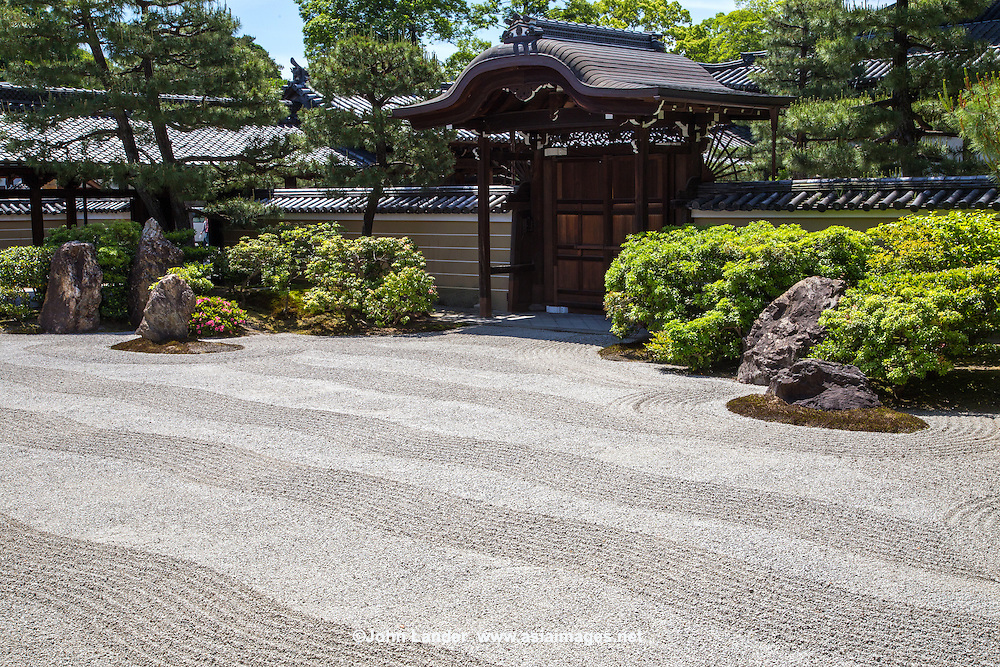 "The large rock garden at the main temple hall, the Hondo is of type meaning ""dry mountains and water"" style. Inside the hondo  itself are many painted sliding doors from renowned artist Hashimoto Kansetsu."