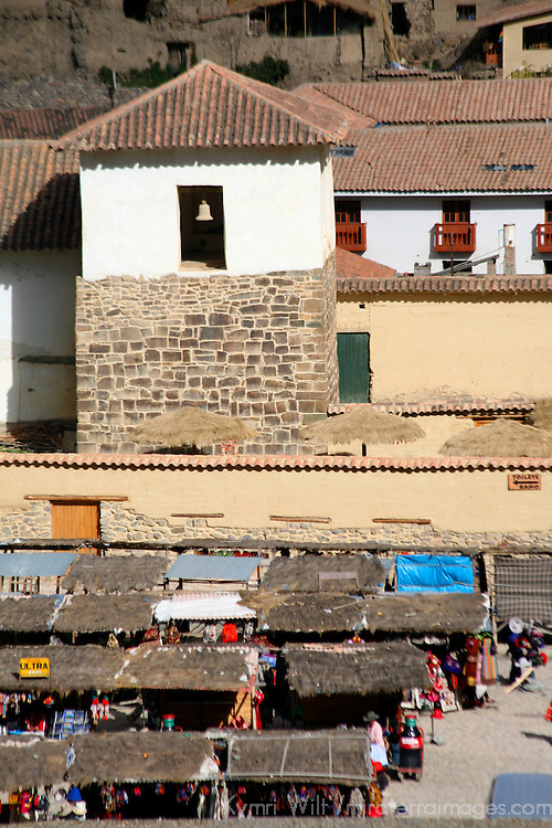 South America, Latin America, Peru, Urubamba Valley. Sunday market in Ollanta, view from the ruins of Ollantaytambo.