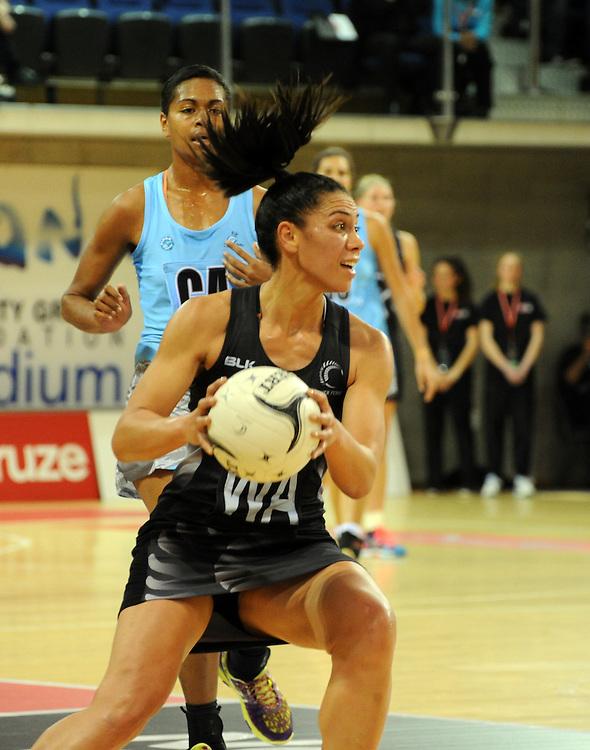 New Zealand's Grace Rasmussen against Fiji in the International netball match at Te Rauparaha Arena, Porirua, New Zealand, Thursday, July 23, 2015. Credit:SNPA / Ross Setford