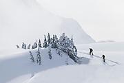 WA09045-00...WASHINGTON - Skiers on the Kulshan Ridge in the Heather Meadows Recreation Area.