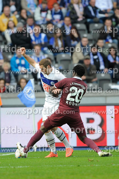 21.04.2012, Olympiastadion, Berlin, GER, 1. FBL, Hertha BSC Berlin vs 1. FC Kaiserslautern, 32. Spieltag, im Bild Pierre-Michel LASOGGA (Hertha BSC/links) im Duell mit RODNEI (1. FC Kaiserslautern) // during the German Bundesliga Match, 32th Round between Hertha BSC Berlin and 1. FC Kaiserslautern at the Olympiastadium, Berlin, Germany on 2012/04/21. EXPA Pictures © 2012, PhotoCredit: EXPA/ Eibner/ Johannes Koziol..***** ATTENTION - OUT OF GER *****