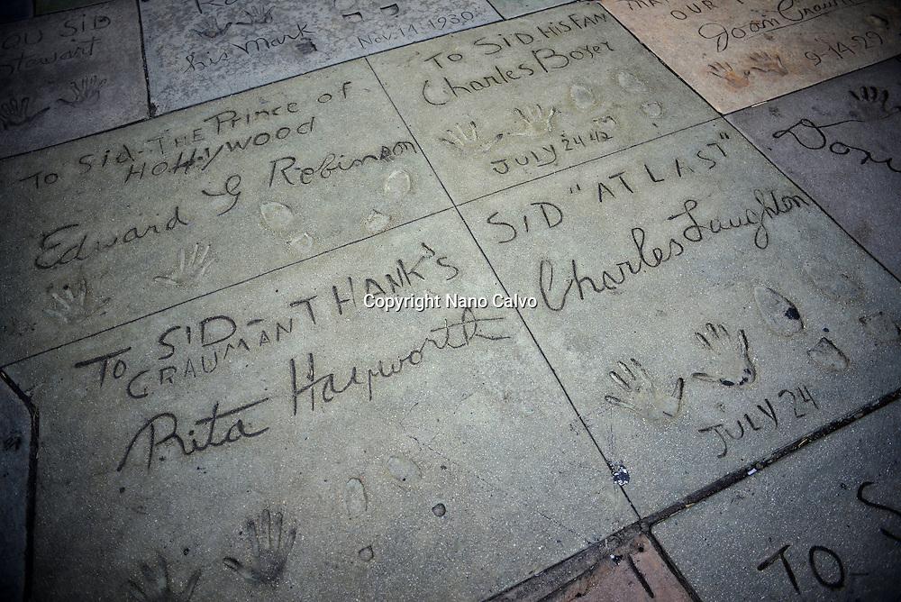 Handprints and footprints at Grauman's Chinese Theatre, Hollywood Boulevard.