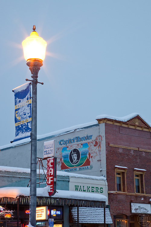 """""""Downtown Truckee 5"""" - Photograph of a California Welcome Center sign with Commercial Row in Downtown Truckee in the background."""