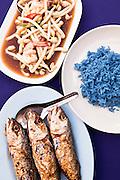 Otak otak - restuffed fish and Pea flower blue rice at Mor Mu Dong Restaurant, Phuket.
