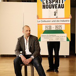 Design director Fabien Naudan, at the occasion of a Swiss design furniture's sale at the Artcurial Gallery. Paris, France. 4/24/2009. Photo: Antoine Doyen