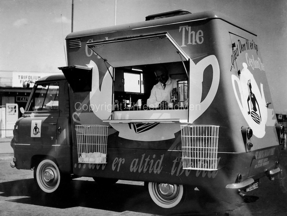 Ceylon Tea van 1960. Denmark. from Dept of Archives. <br />The van had a projector, showed films and slides of ceylon. Travelled the country distrubuting hot or cold Ceylon Tea free of charge.
