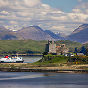 The MV Isle of Mull passes Duart Castle, Isle of Mull, Argyll