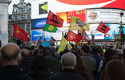 London, October 11th 2015. Thousands from London's Kurdish and Turkish communities demonstrate outside Downing street before marching to the BBC in protest against what they say is Turkey's support for ISIS in attacking Kurds who have long been trying to set up an autonomous state. They blame the Turkish government for being behind the bombings which claimed over 120 Kurdish and Turkish lives at a peace rally in the Turkish capital, Ankara on 10 October.
