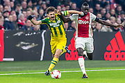 AMSTERDAM - Ajax - ADO , Voetbal , Eredivisie , Seizoen 2016/2017 , Amsterdam ArenA , 29-01-2017 ,  ADO Den Haag speler Edouard Duplan (l) in duel met Ajax speler Davinson Sanchez (r)