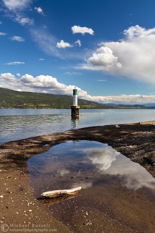 The Shorts Point Lighthouse on Okanagkan Lake in Fintry Provincial Park in British Columbia, Canada