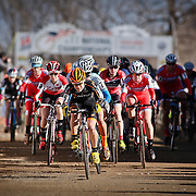 SHOT 1/12/14 2:28:13 PM - Crystal Anthony (#5) of Beverly, Ma. leads the pack out of the starting line in the Women's Elite race at the 2014 USA Cycling Cyclo-Cross National Championships at Valmont Bike Park in Boulder, Co.  (Photo by Marc Piscotty / © 2013)