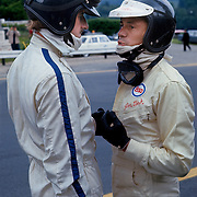 Formula One (Grand Prix) drivers Graham Hill (twice world champion) and Jim Clark (twice world champion), drivers for Team Lotus (Spa-Francorchamps, 1967).