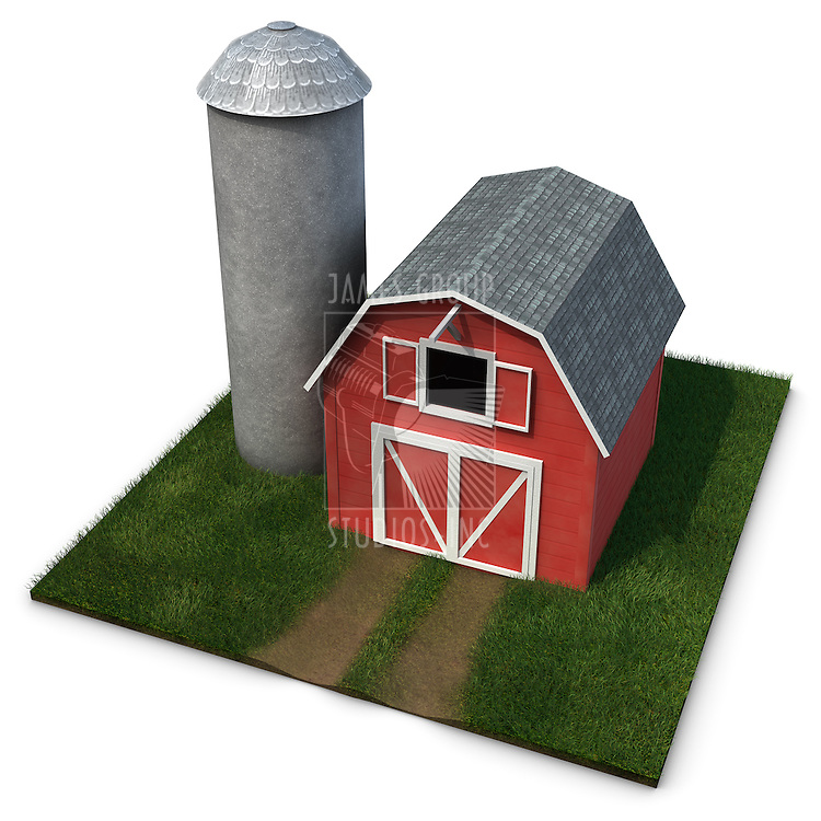 Barn and Silo on a square patch of grass isolated on a white background