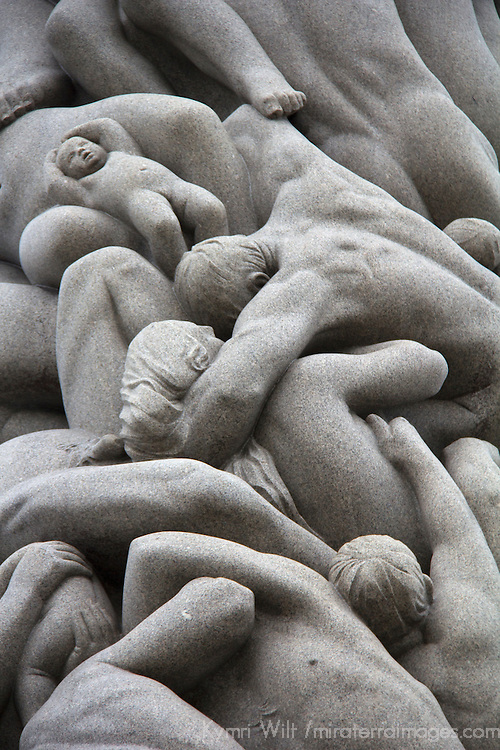 Europe, Norway, Oslo. Detail of granite monolith of human figures sculpted by Gustav Vigeland.