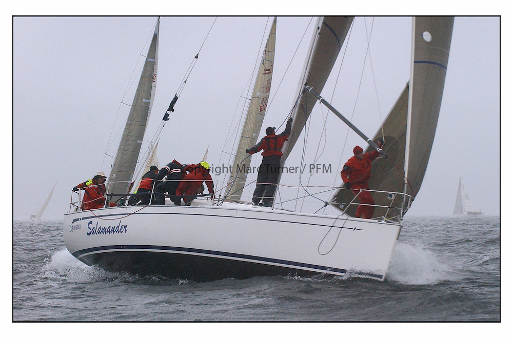 The second days racing at the Bell Lawrie Yachting Series in Tarbert Loch Fyne ...Strong winds, high seas and heavy rain dominated the day...Bavaria Match 38 Salamander XVIII GBR3830C .