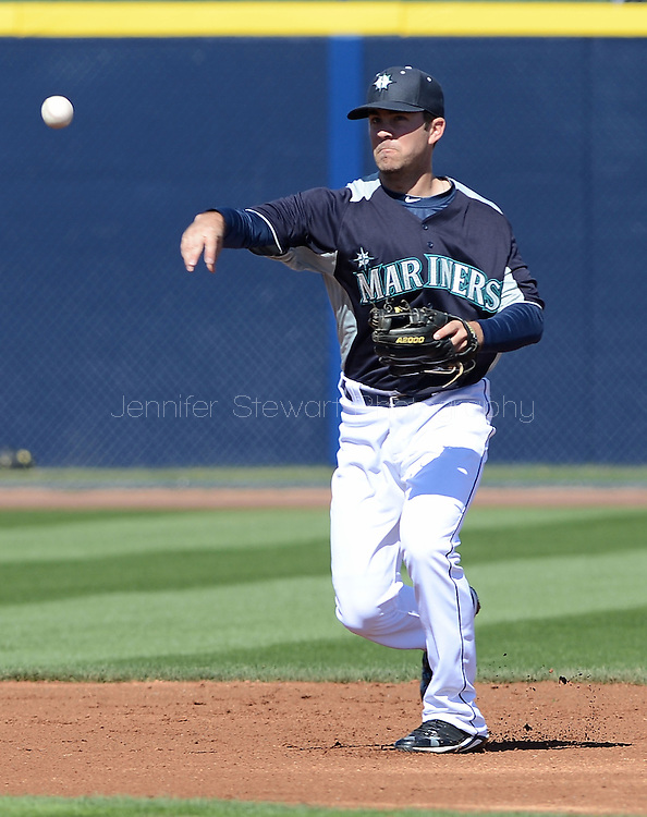 PEORIA, AZ - FEBRUARY 24:  Infielder Nick Franklin #61 of the Seattle Mariners in action during the spring training game against the San Diego Padres at Peoria Sports Complex on February 24, 2013 in Peoria, Arizona.  (Photo by Jennifer Stewart/Getty Images) *** Local Caption *** Nick Franklin