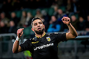 DEN HAAG - ADO Den Haag - Vitesse , Voetbal , Eredivisie , Seizoen 2016/2017 , Kyocera Stadion , 03-02-2017 , Vitesse speler Adnane Tighadouini viert zijn doelpunt voor de 0-1
