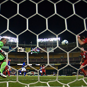 Pat Onstad #20 (right) heads the ball away from the net during the MLS International friendly match between Everton FC of England and DC United...Everton FC Defeated DC United 3-1 Saturday, July 23, 2011, at  RFK Stadium in Washington DC.