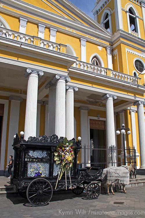 Central America, Nicaragua, Granada. Cathedral of Granada Funeral Carriage.