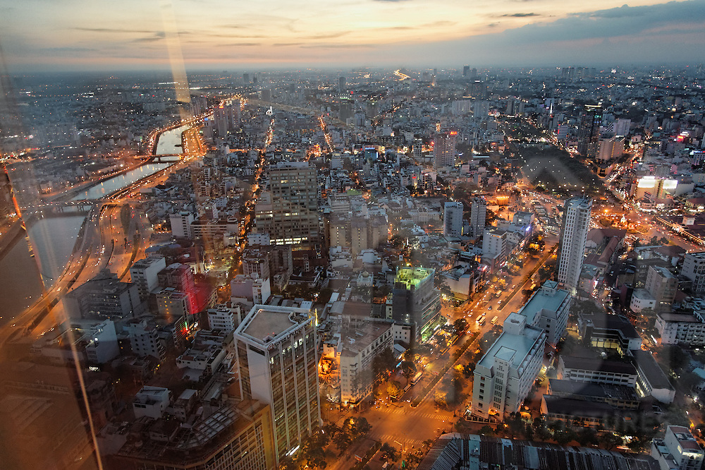View over Ho Chi Minh City at twilight as seen from Bitexco financial tower, Vietnam, Southeast Asia
