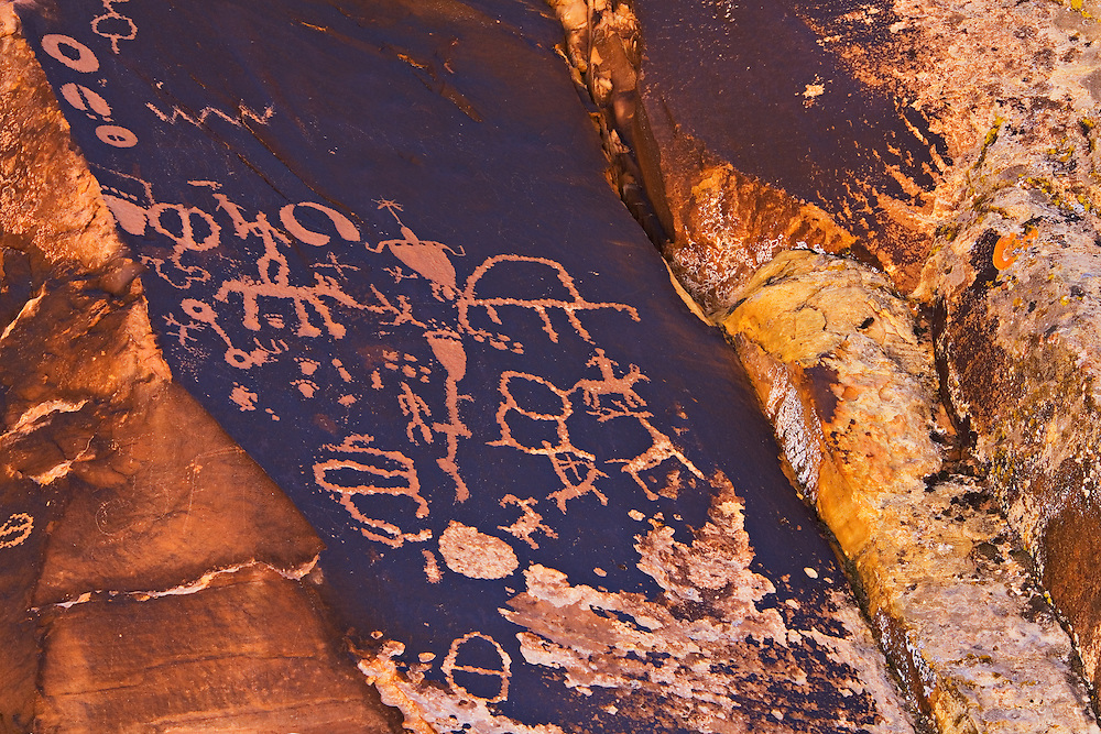 Pre-historic and historic petroglyphs carved by Native Americans. Newspaper Rock State Historic Monument, Utah.