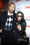 "l to r: Londell McMillan and Lil' Kim at The Russell Simmons and Spike Lee  co-hosted""I AM C.H.A.N.G.E!"" Get out the Vote Party presented by The Source Magazine and The HipHop Summit Action Network held at Home on October 30, 2008 in New York City"