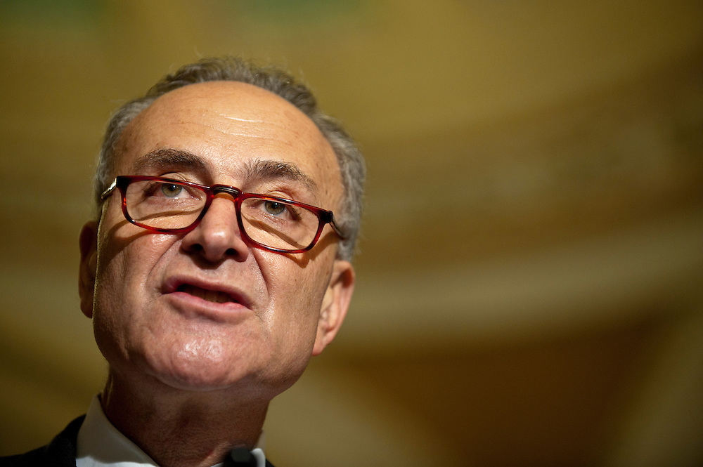 Senator Chuck Schumer (D-NY) speaks to the media about the urgency of passing a debt limit increase as soon as possible.