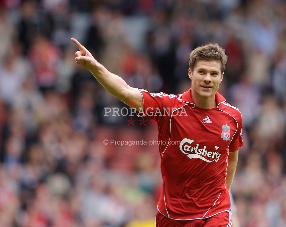 Liverpool, England - Saturday, September 1, 2007: Liverpool's Xabi Alonso celebrates scoring the fourth goal against Derby County during the Premiership match at Anfield. (Photo by David Rawcliffe/Propaganda)