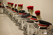 COLUMBUS, OH - November 18:  2006 Ohio State University Marching Band, Michigan Week. Snare drums with hats lined up in a hall way in The Ohio State University Marching Band Room. Credit: Bryan Rinnert