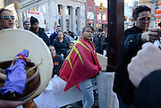 Windsor, Canada. December, 2012. 'Idle No More' rally and march to protest Bill C-45 that makes significant changes to the Navigable Waters Protection Act. Over one hundred people, mainly First Nations and Metis, attend with many from out of town.
