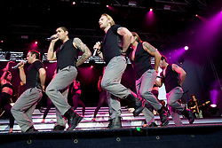Boyzone, the Irish vocal pop group comprising Ronan Keating, Mikey Graham, Keith Duffy, Shane Lynch and Stephen Gately, perform on stage at Edinburgh Castle, July 18, 2008.