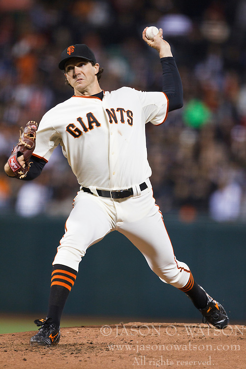 September 14, 2010; San Francisco, CA, USA;  San Francisco Giants starting pitcher Barry Zito (75) pitches against the Los Angeles Dodgers during the third inning at AT&T Park. Los Angeles defeated San Francisco 1-0.