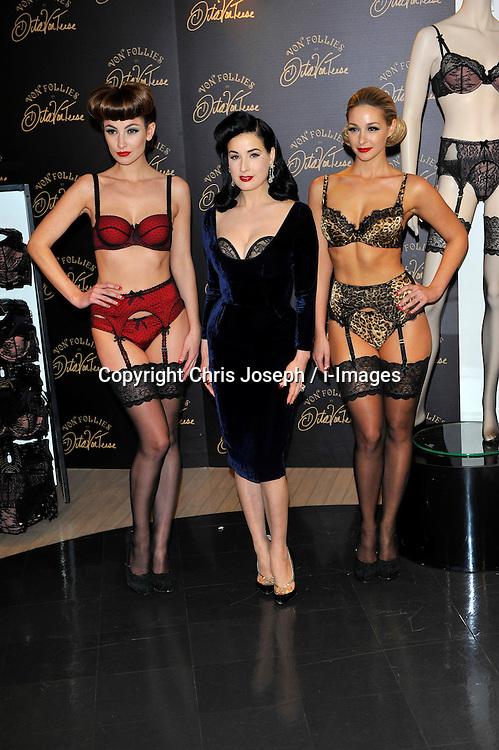 Dita Von Teese - photocall. American burlesque dancer and model appears in Debenhams to launch her Von Follies line of lingerie, Debenhams, 334-348 Oxford Street, London, UK, November 28, 2012. Photo by Chris Joseph / i-Images..