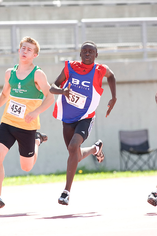 (Sherbrooke, Quebec---10 August 2008) Benjamin Ayesu-Attah competing in the 200m at the 2008 Canadian National Youth and Royal Canadian Legion Track and Field Championships in Sherbrooke, Quebec. The photograph is copyright Sean Burges/Mundo Sport Images, 2008. More information can be found at www.msievents.com.