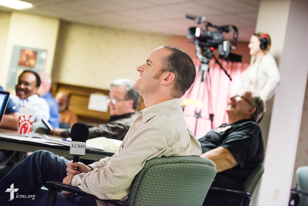 Chaplains engage in discussion on Tuesday, Oct. 28, 2014, at the LCMS Specialized Pastoral Ministry Educational Event and Retreat at the Mercy Conference and Retreat Center in Frontenac, Mo. LCMS Communications/Erik M. Lunsford