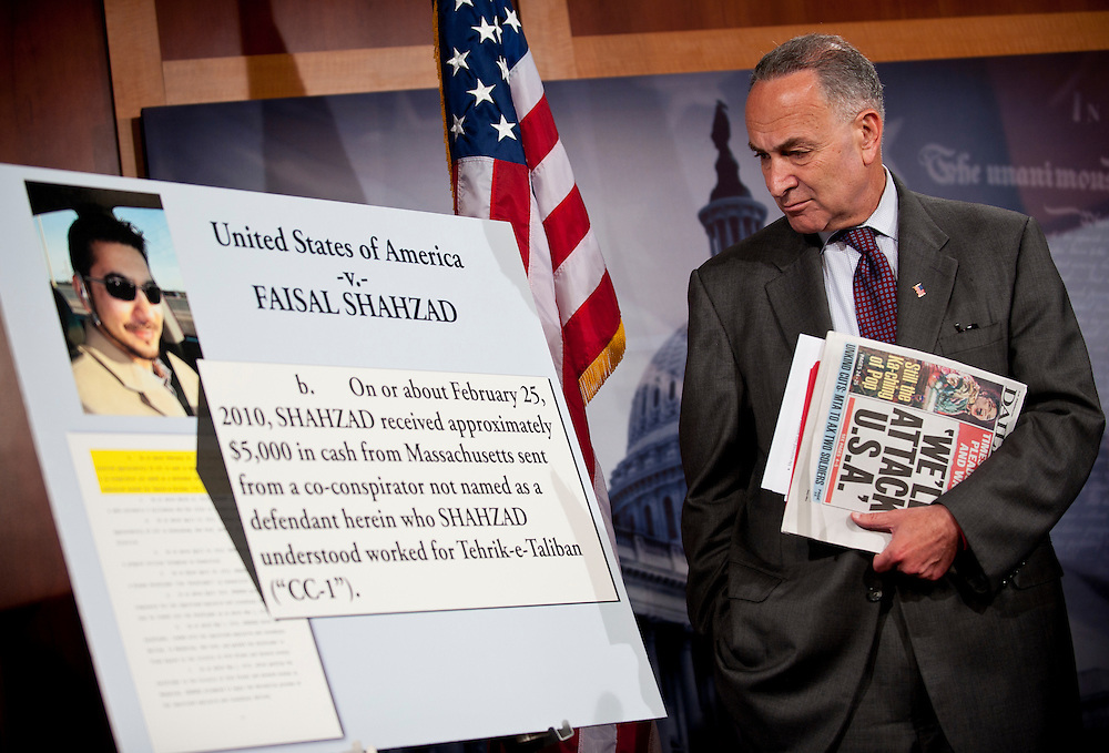 June 22, 2010 - Washington, District of Columbia, U.S., - Sen. Charles Schumer, D-N.Y. along with Sens. Kirsten Gillibrand, D-N.Y., Robert Menendez, D-N.J., and Frank Lautenberg, D-N.J are seeking to force the Obama administration to blacklist the Pakistani Taliban, a day after the failed Times Square bomber, Faisal Shahzad, pleaded guilty and admitted getting training from the group.(Credit Image: © Pete Marovich/ZUMA Press)