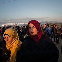 A couple of young woamen is seen in the refugges camp next to the Greek Macedonian border not far from the Greek Village of Idomeni, Greece. FEDERICO SCOPPA/CAPTA