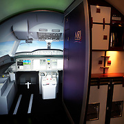 Full-size mock-up of a Mitsubishi Regional Jet (MRJ) cockpit and cabin catering interior areas at the Paris Air Show exhibition