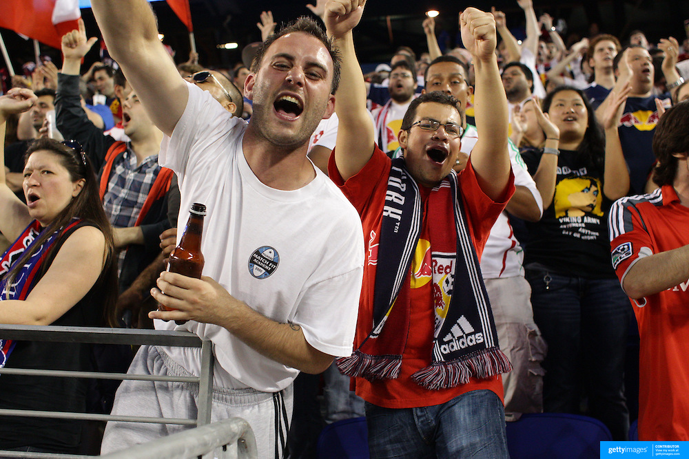 New York Red Bulls fans celebrate after Kenny Cooper's goal during the New York Red Bulls V Chivas USA Major League Soccer match at Red Bull Arena, Harrison, New Jersey, 23rd May 2012. Photo Tim Clayton