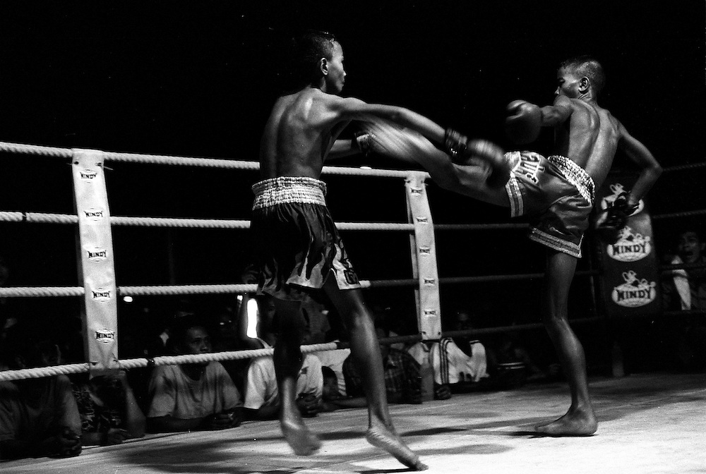Young Muay Thai fighters during a tournament at Lumpini Stadium. Muay Thai/Thai Boxing Bangkok Thailand March 2003.©David Dare Parker /AsiaWorks Photography