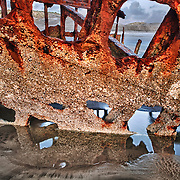 Peter Iredale Shipwreck Beached Close View - Sunset - Oregon Coast - HDR