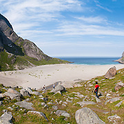 Bunes Beach, Moskenesøya (the Moskenes Island), part of Lofoten, an archipelago and traditional district in Nordland county, Norway. Panorama stitched from 7 overlapping photos.