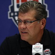 USA Women's National Head Coach Geno Auriemma of The University of Connecticut addresses the media after a USA Women's National Team Exhibition game between Red and White Thursday, Sept. 11, 2014 at The Bob Carpenter Sports Convocation Center in Newark, DEL