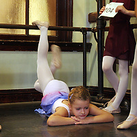 Hannah Sylvester, 6, of Scituate, left, and Emma Beaumont-Smith, 6, of Cambridge, wait to audition for Jose Mateo Ballet Theatre's Nutcracker, Saturday,  September 15, 2007.