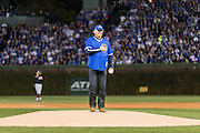 CHICAGO, IL - OCTOBER 30, 2016: Hall of Famer Ryne Sandberg prepares to throw out the ceremonial first pitch before the start of Game 5 of the 2016 World Series between the Cleveland Indians and the Chicago Cubs at Wrigley Field on October 30, 2016 in Chicago, Illinois. (Photo by Jean Fruth)