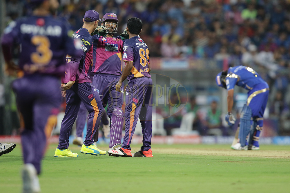 M.Ashwin of Pune Supergiants celebrates wicket of Shreyas Gopal of MI during match 1 of the Vivo Indian Premier League ( IPL ) 2016 between the Mumbai Indians and the Rising Pune Supergiants held at the Wankhede Stadium in Mumbai on the 9th April 2016<br /> <br /> Photo by Rahul Gulati/ IPL/ SPORTZPICS