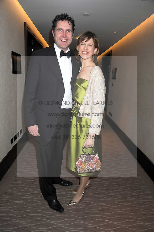 KATIE DERHAM and her husband JOHN VINCENT at the 2008 Costa Book Awards held at the Intercontinental Hotel, Hamilton Place, London on 27th January 2009.