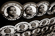 Campaign buttons of U.S. Senator Barack Obama sit on display as he announces his candidacy for President of the United States in Springfield, IL February 10, 2007.